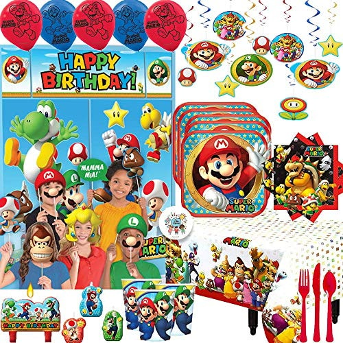 Mega Super Mario Birthday Party Supplies and Decoration Pack For 16 With Mario Plates, Napkins, Cups