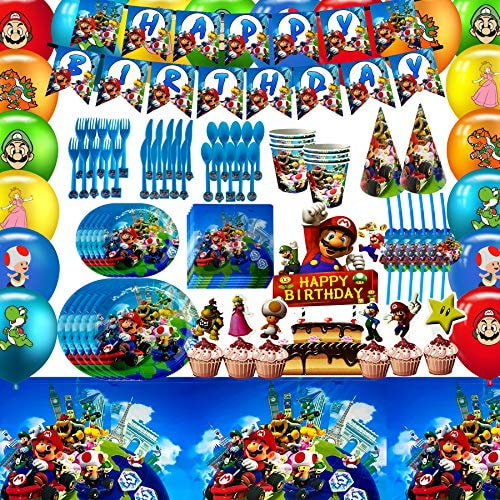 Mario Birthday Party Supplies for Kids – Super Mario Birthday Party Decorations Include Happy Birthd