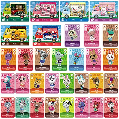 6pcs NFC Cards for Animal Crossing Sanrio NFC Amiibo Cards with 26 pcs ACNH NFC Tag Mini Game Rare C