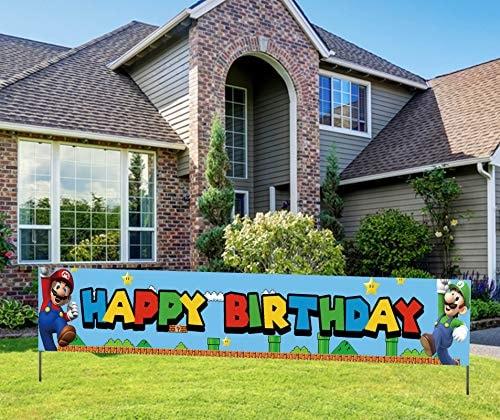 Super Inspired Mario Birthday Banner, Super Themed Mario Happy Birthday Sign, Video Game Mario Bros
