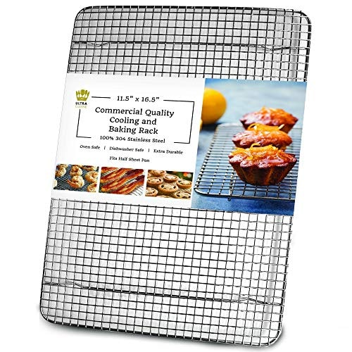 Oven-Safe, Dishwasher-Safe 100% Stainless Steel Wire Cooling Rack for Baking - Large Wire Baking Rac