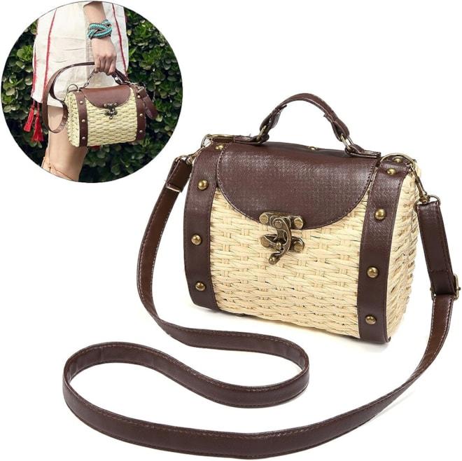 Top Handle Straw Bag