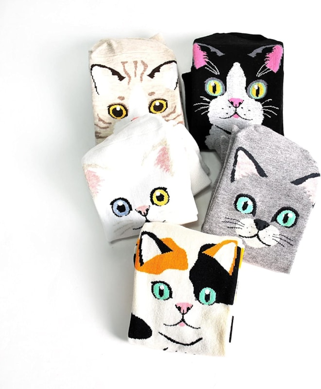 Womens Casual Socks - Cute Crazy Lovely Animal Cat Dogs Anime Character. Goods for Gift Ideas. (5 ki
