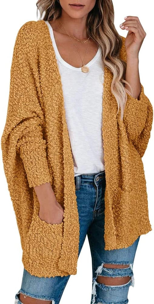 Open Front Fuzzy Cardigan Sweater Popcorn Loose Knit