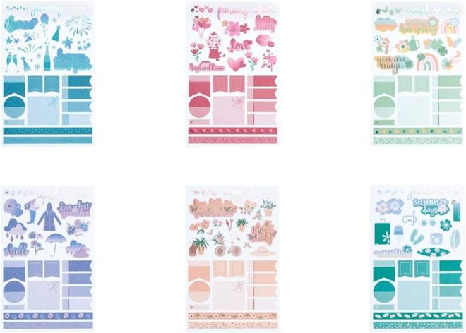 Erin Condren  - Monthly Sticker Book, Edition 6, 12 Unique, Beautiful Stickers
