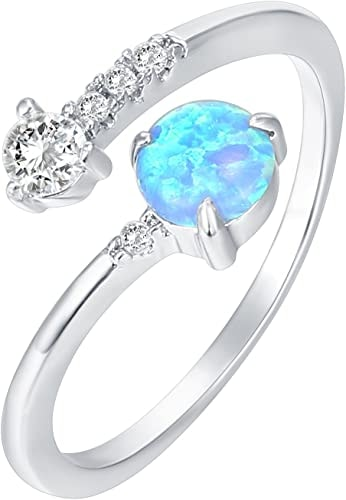 14K White Gold Plated Wrap CZ and Created Blue Opal Ring