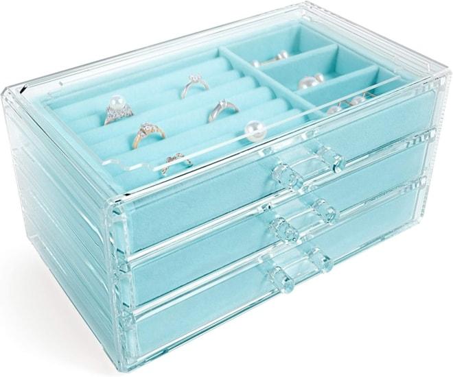 Acrylic Jewelry Box 3 Drawers, Velvet Jewelry Organizer