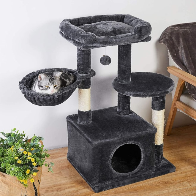 Cat Tree with Plush Condos & Dangling Balls, Kitten Tower