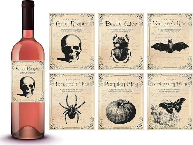 6 Vintage Bottle Labels