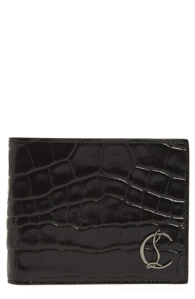 Christian Louboutin Coolcard Croc Embossed Leather Wallet