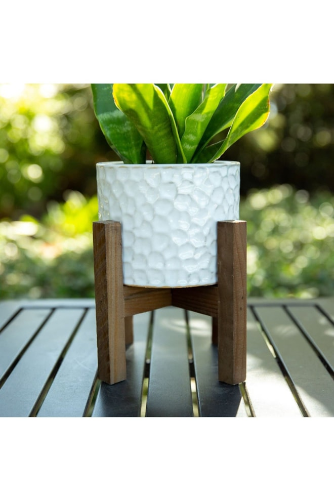 Beehive Ceramic Planter on Wood Stand