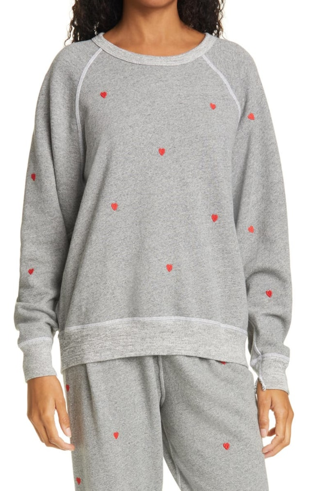 THE GREAT. Heart Embroidered The College Sweatshirt   Nordstrom