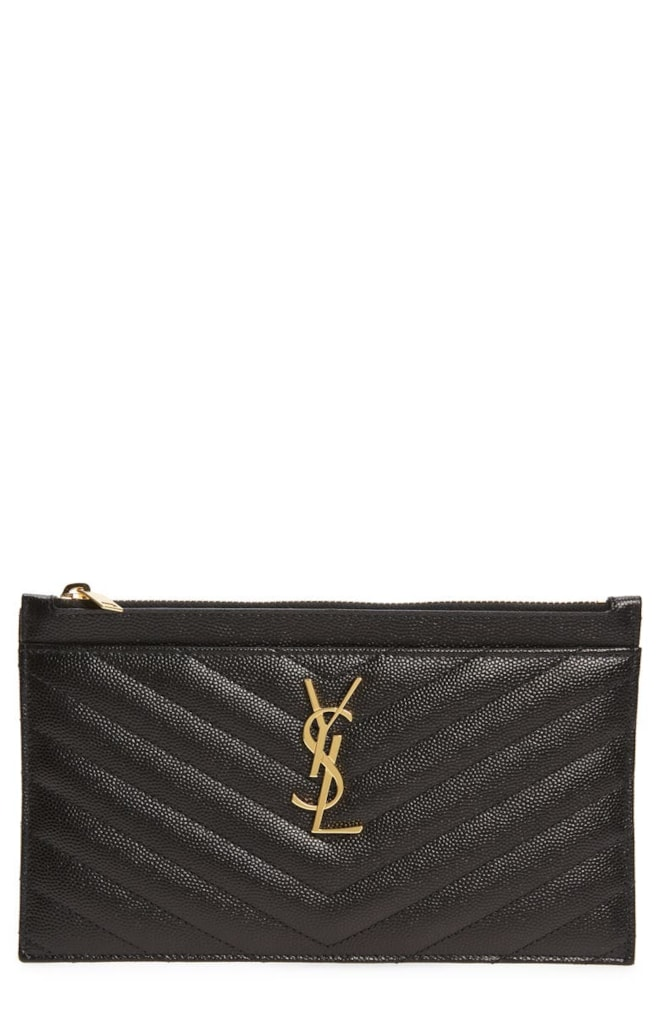 YSL Monogramme Quilted Leather Zip Pouch