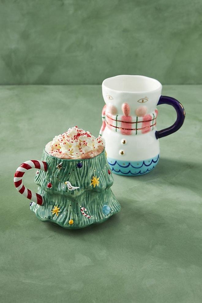 Joyeux Noel Tree or Snowman Mug