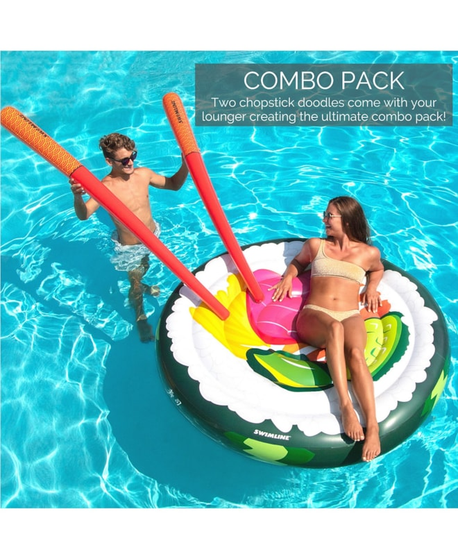 Sushi Roll 7 Chopsticks Inflatable Pool Float Lounger